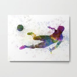 man soccer football player flying kicking Metal Print