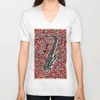 saxophone V-neck T-shirts featuring Saxophone by Matt Larsen