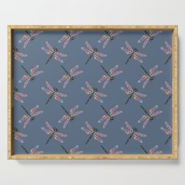 Crazy colorful dragonfly pattern on navy background Serving Tray