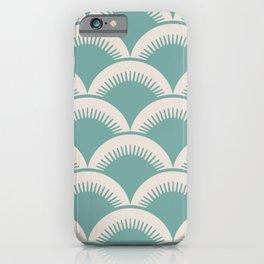 Japanese Fan Pattern Foam Green and Beige iPhone Case