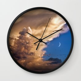Clouds, Birds, Moon, Venus Wall Clock