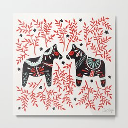 Swedish Dala Horses – Red and Black Palette Metal Print