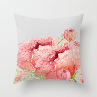 craftberrybush Throw Pillows featuring Pink peonies in blue jar by craftberrybush