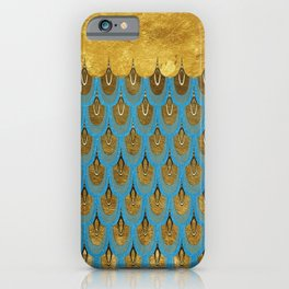 Blue and Gold Mermaid Scales Dreams iPhone Case
