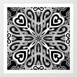 Black+White Ornate Hearts Art Print