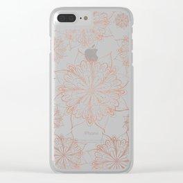 Elegant faux rose gold hand drawn floral mandala Clear iPhone Case
