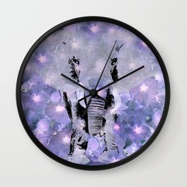 ELEPHANT AND LILAC PURPLE VIOLET BLOSSOMS Wall Clock