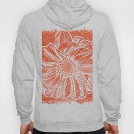 White Flower On Pumpkin Orange Crayon Hoody