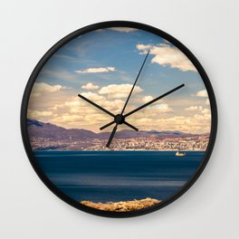 Sunny day view from Krk island to the gulf of Rijeka Wall Clock