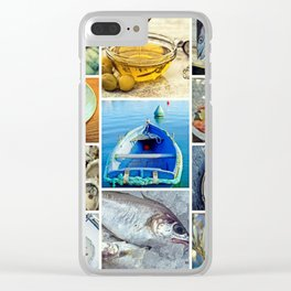 Seafood Collage Cafe Kitchen Decor Clear iPhone Case