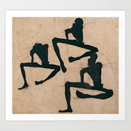 Egon Schiele - Composition with Three Male Nudes (1910) Art Print