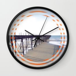Victorian Pier - orange graphic Wall Clock