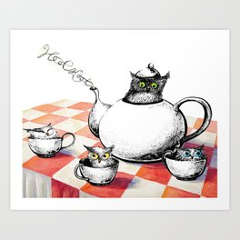 Owls for Tea Art Print