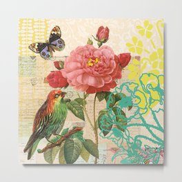 A rose with a bird and a butterfly Metal Print