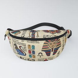 Egyptian hieroglyphs and deities on papyrus Fanny Pack