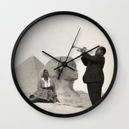 Louis Armstrong at the Spinx and Egyptian Pyrimids Vintage black and white photography / photographs Wall Clock