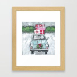 Vintage Car in the Snow painting Framed Art Print