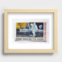 FIRST MAN ON THE MOON Recessed Framed Print