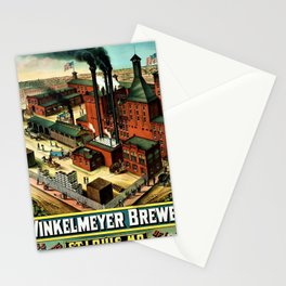Vintage 1882 Julius Winkelmeyer Brewery St. Louis Lithograph Wall Art Advertisement Art Print Stationery Cards