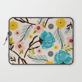 Modern Vintage Blue Floral Garden Laptop Sleeve