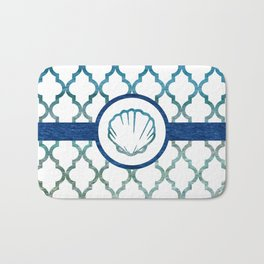 Clam Shell: Tropical Water Moroccan Pattern Bath Mat