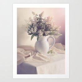 Still life with white privet flowers Art Print