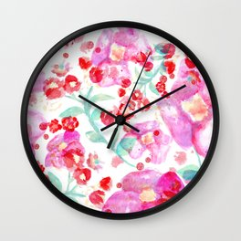 Summer watercolor flowers hot pink blossom Wall Clock