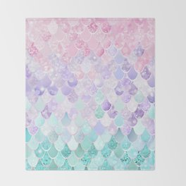 Mermaid Pastel Iridescent Throw Blanket