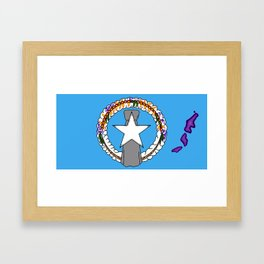 Northern Marianas Flag with Map of Marianas Framed Art Print