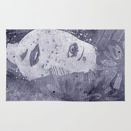 Lack Of Interest: Silver (graffiti dark lady with daisies) Rug