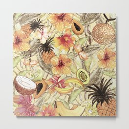 My Sepia Tropical Summer Hibiscus And Fruits Garden - Jungle Pattern Metal Print