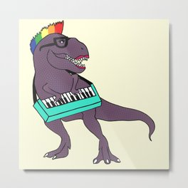 T-Rex Keyboard Metal Print