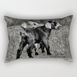 Baby Goats on the Hay Rectangular Pillow