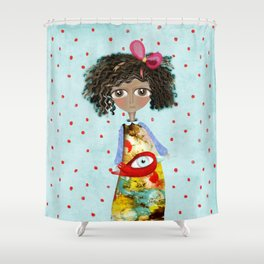 Red Bird Pet Doll Grungy Polka Dots Shower Curtain