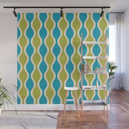 Classic Retro Ogee Pattern 852 Turquoise and Olive Wall Mural