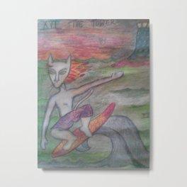 THE TOWER/SURFER CAT Metal Print