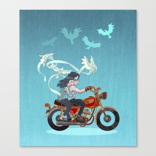 Motorcycle Couple Canvas Print