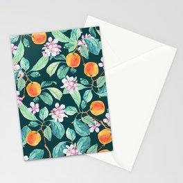 Orange tree blossom watercolor illustration patter Stationery Cards