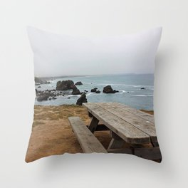Sea Bench Throw Pillow