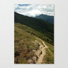 narrow hiking path alps serfaus fiss ladis tyrol austria europe Canvas Print