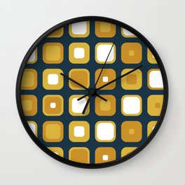 Rounded Squares Seventies Geometric Pattern in Mustard Yellows and White on Navy Blue Wall Clock