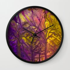 Psychedelic Forest Fire Wall Clock