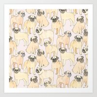 pugs Art Prints featuring Pugs by Sian Keegan