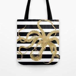 Gold Octopus on Black & White Stripes Tote Bag