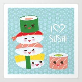 I love sushi. Kawaii funny sushi set with pink cheeks and big eyes, emoji. Blue japanese pattern Art Print