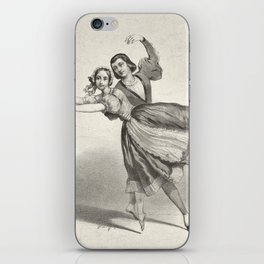 The Dancers, young man and woman, graphite, black white iPhone Skin