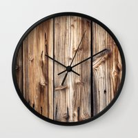 wood Wall Clocks featuring Wood by Patterns and Textures