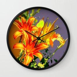 Serene Orange Daylilies Grey-Brown Abstract Wall Clock
