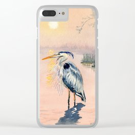 Great Blue Heron at Sunset Clear iPhone Case