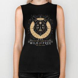 Wild & Free Wolf – Gold & Grey Biker Tank